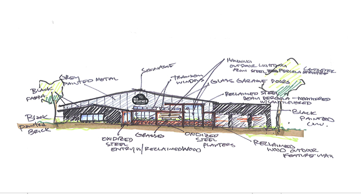 Bad Weather Brewery Preliminary Design Sketch // Courtesy of Hagen, Christensen, & McIlwain Architects