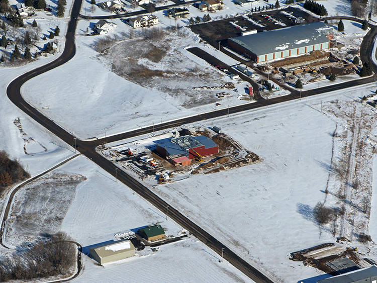 Aerial view of Barley's John new production brewery // Photo courtesy of New Richmond Airport