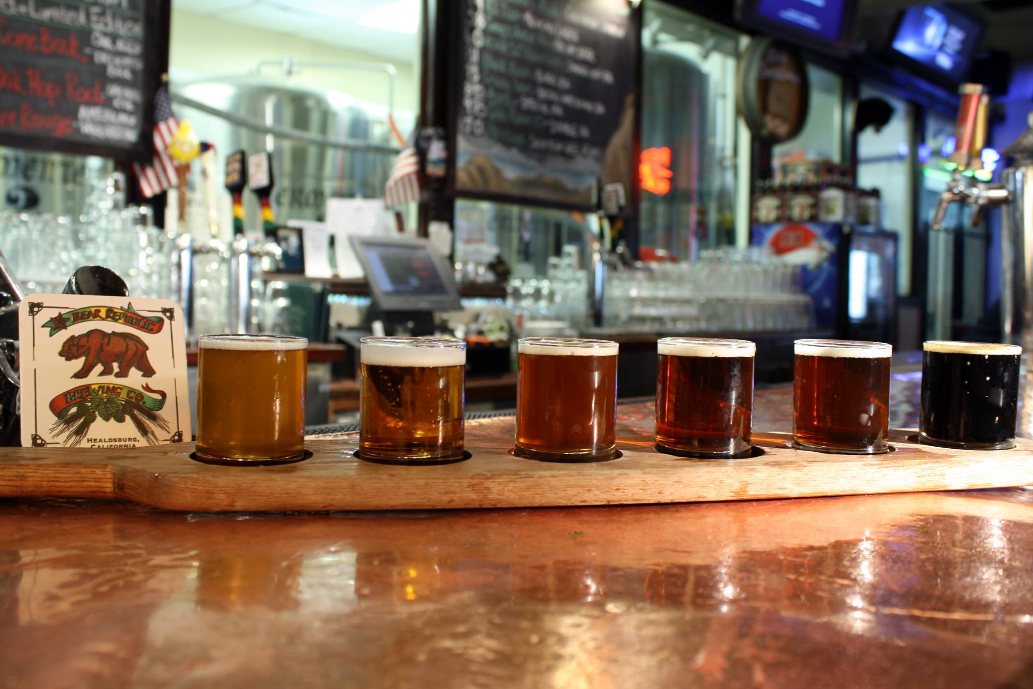 A flight at Bear Republic Brewing Co.