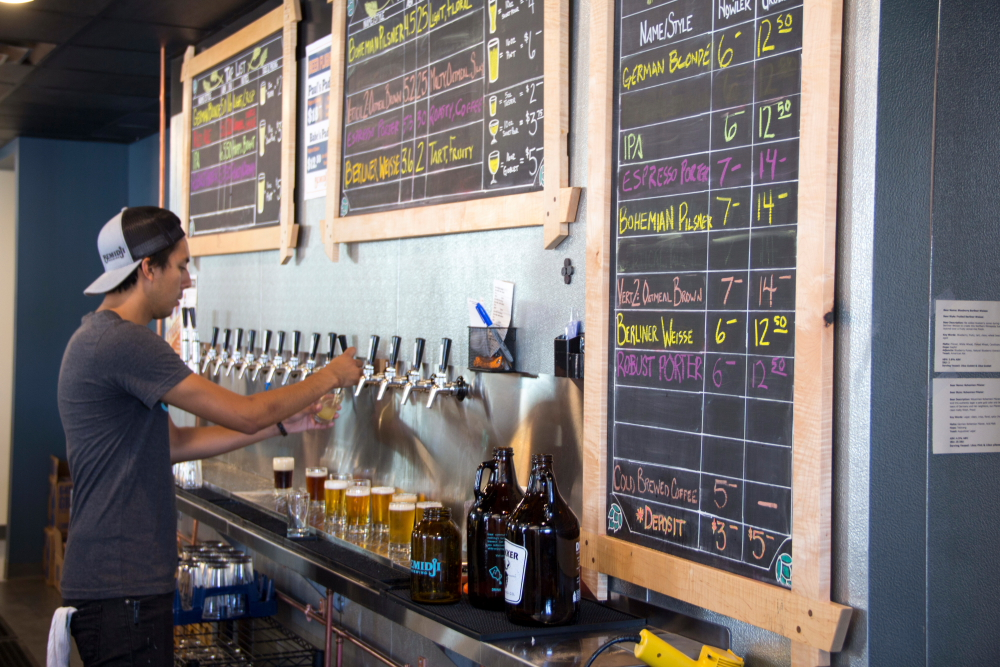 The beer list at Bemidji Brewing's taproom features many traditional style // Photo by Brian Kaufenberg