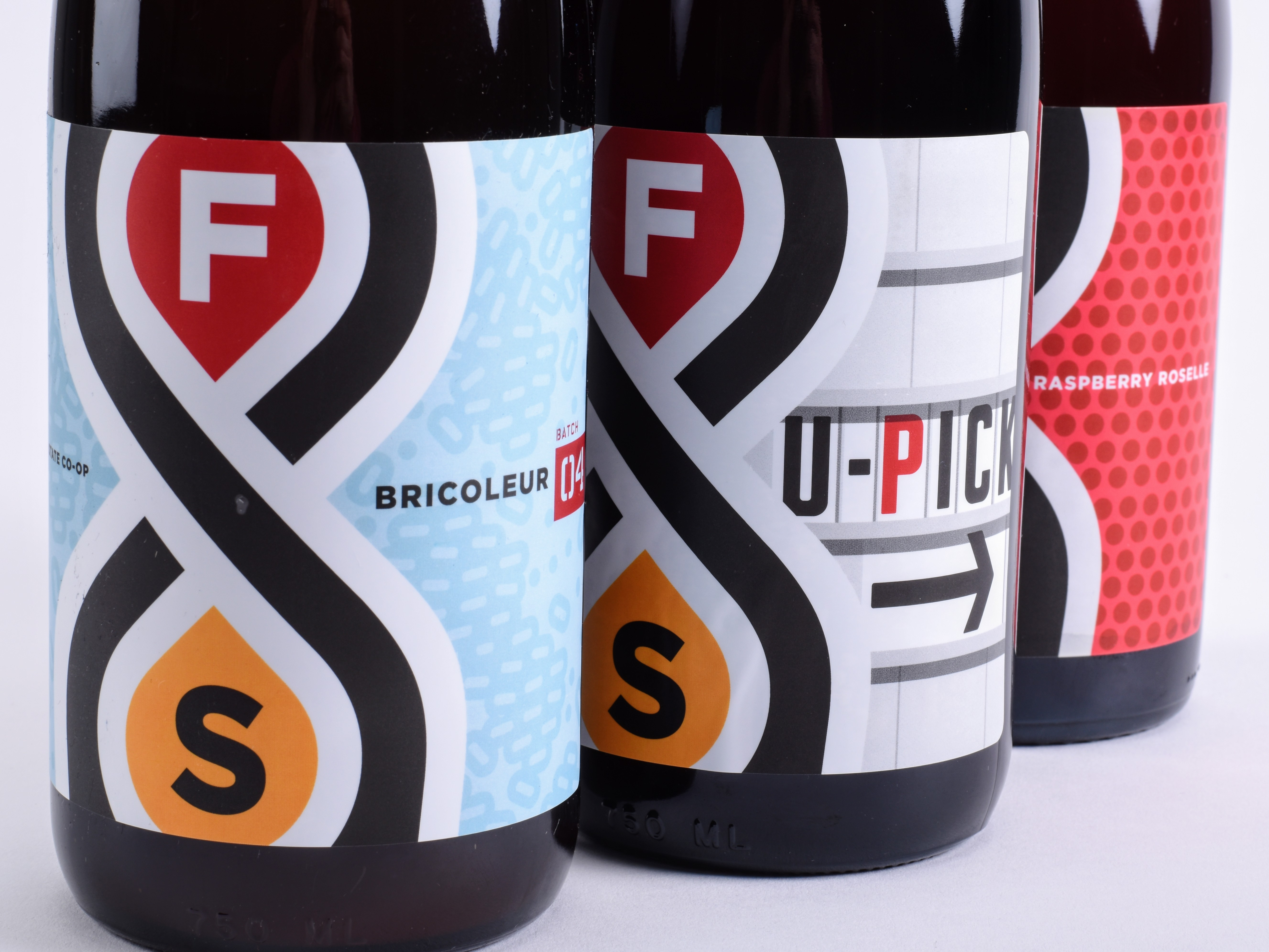 Fair State Bricoleur #4, U-Pick, and Raspberry Roselle // Photo courtesy of Fair State Brewing Cooperative