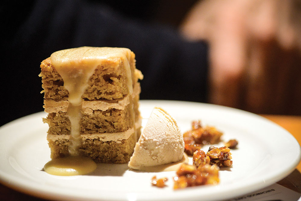 Parsnip cake with chestnut ice cream // Photo by Daniel Murphy, Growler Magazine