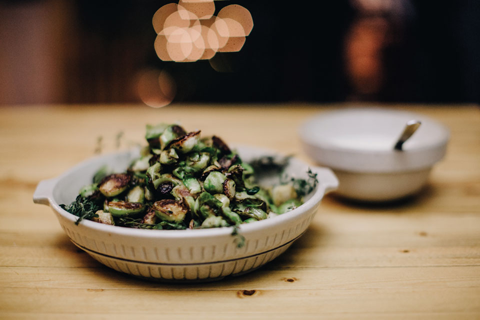 Alex Roberts' roasted Brussels sprouts, Photo by Matt Lien // Growler Magazine