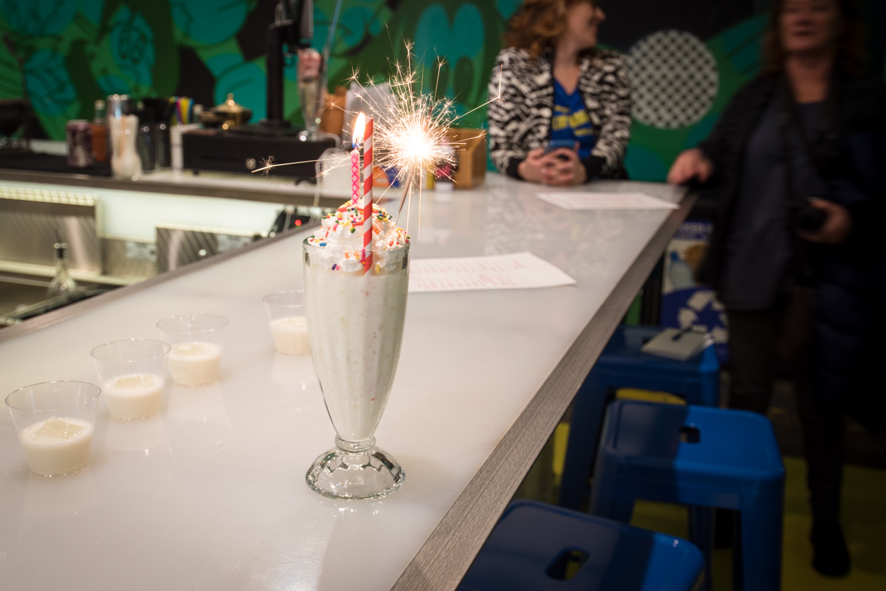HAPPY BIRTHDAY!!!!!! – Bittercube Birthday Cake Vodka Blend, Cream Cheese Frosting Syrup, Milk, Sprinkles, Sparklers, Poppers