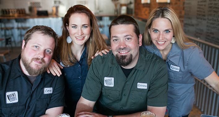 Colin, Laura, Bryon, and Karen of Bent Paddle -- Photo by JaneCane PhotographyFEAT