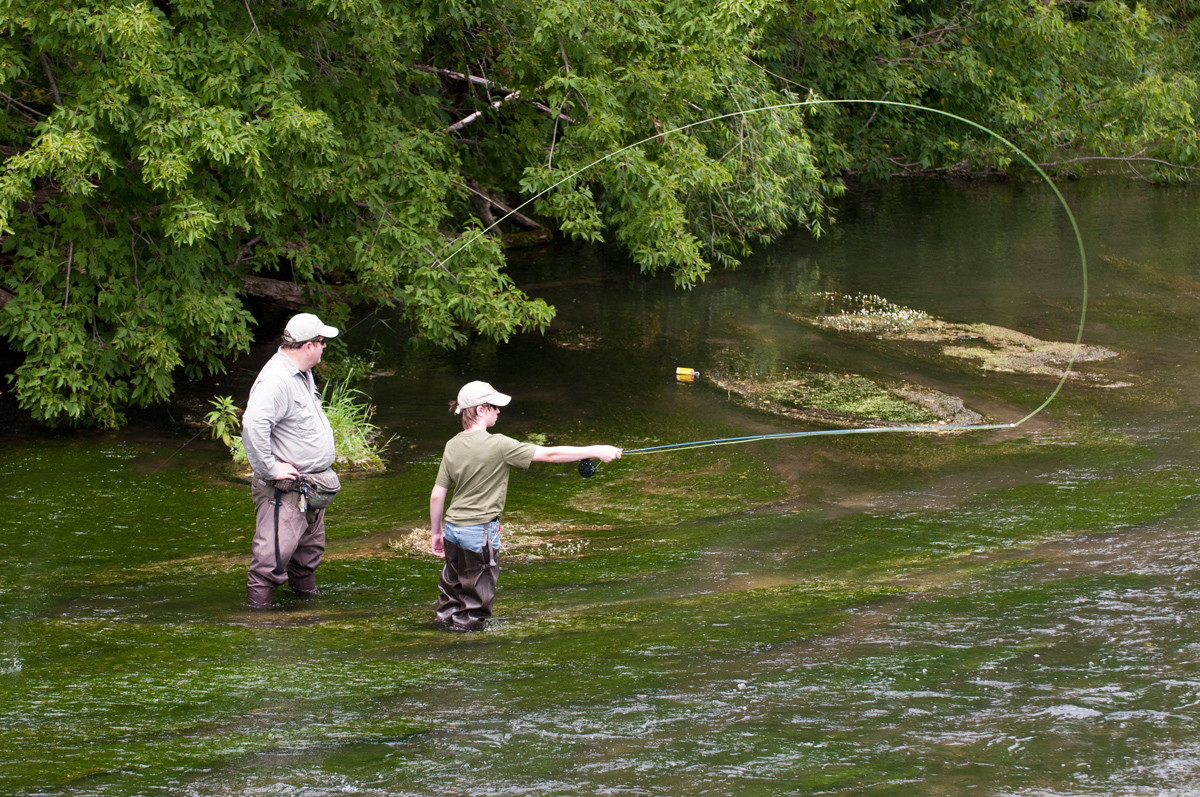 Fly casting and trout fishing on the Root River in Preston