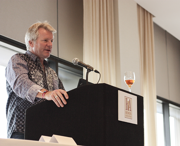 Dick Cantwell, formerly of Elysian Brewing, speaking at the 2013 Great American Beer Festival media luncheon. // Photo by Brian Kaufenberg
