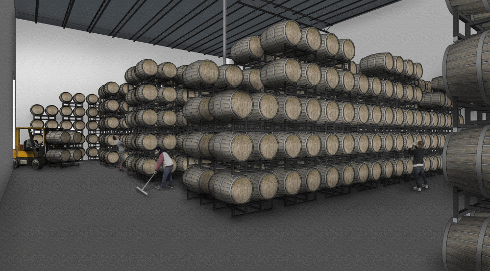 Rendering of the barrel room at the new Fair State production facility // Courtesy of Fair State Brewing Cooperative