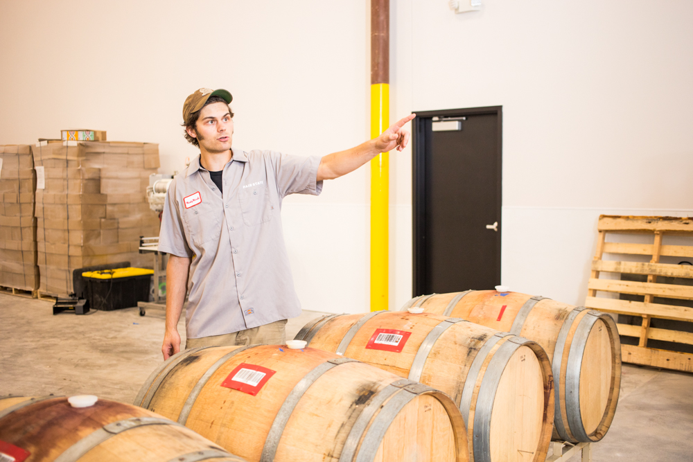 Caleb Levar inside Fair State's new production brewery in St. Paul // Photo by Tj Turner