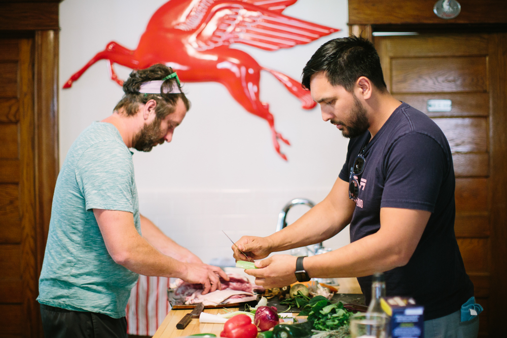 Travail's James Winberg and Bob Gerken prepping dinner // Photo by Wing Ta