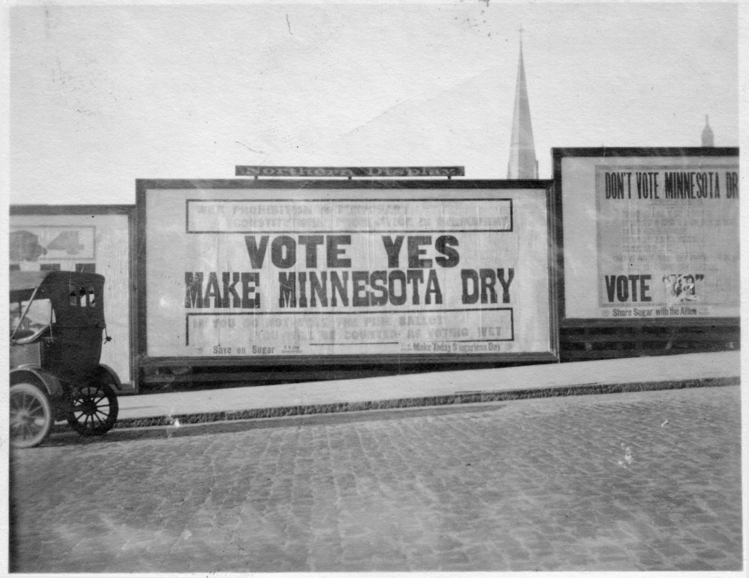 """Vote yes, make Minnesota dry"" pro-constitutional prohibtion billboard, St. Paul"