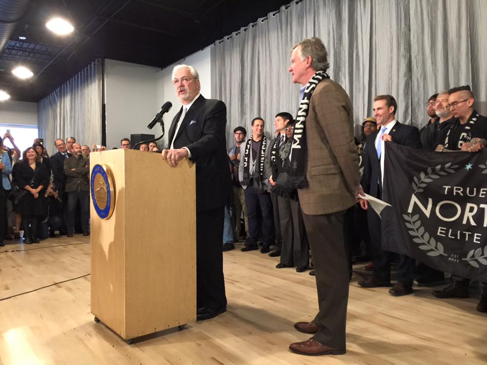 Minnesota United FC owner Bill McGuire and St. Paul Mayor Chris Coleman officially announced that an MLS-funded professional soccer stadium is coming to St. Paul's Midway neighborhood // Photo by Joseph Alton