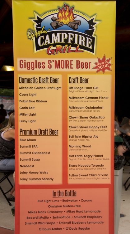 Giggles' Campfire Grill Beer List on Day One, Minnesota State Fair 2014 // Photo by Brian Kaufenberg