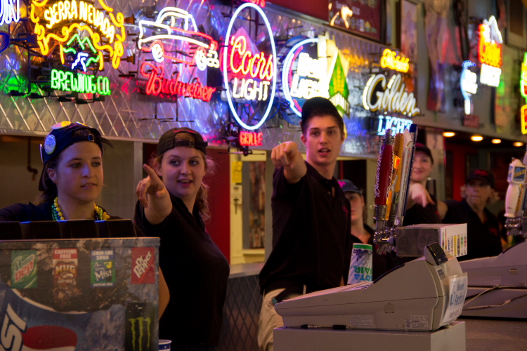 Andy's Grille all-staff Grease Lightning Dance, Minnesota State Fair // Photo by Brian Kaufenberg