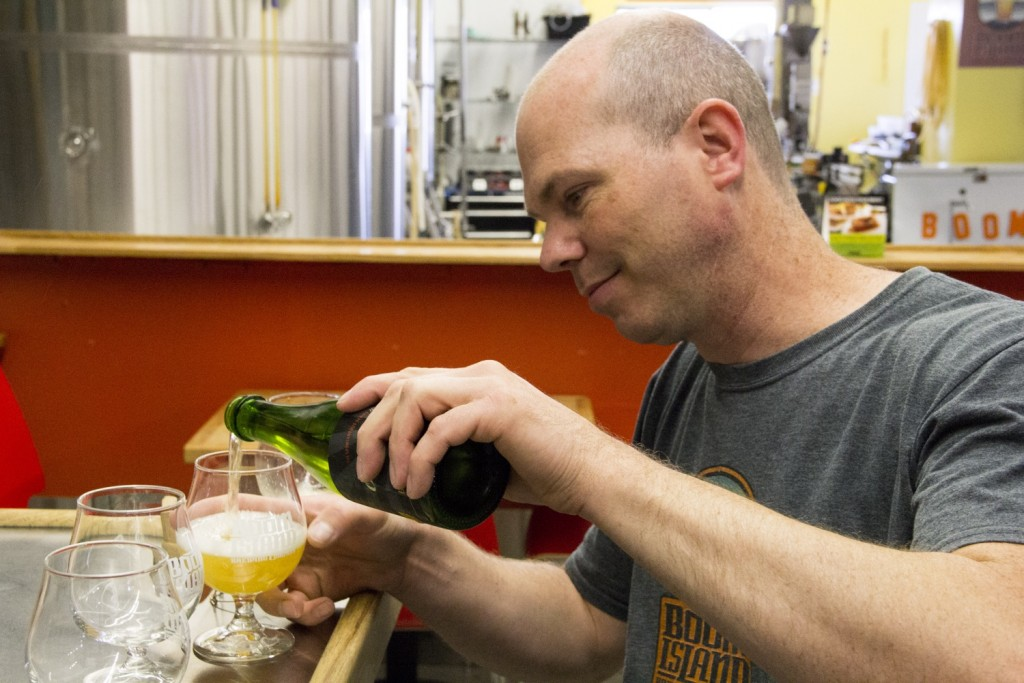 Boom Island Brewing's Kevin Welch pours Oude Funk, Photo by Brian Kaufenberg // Growler Magazine