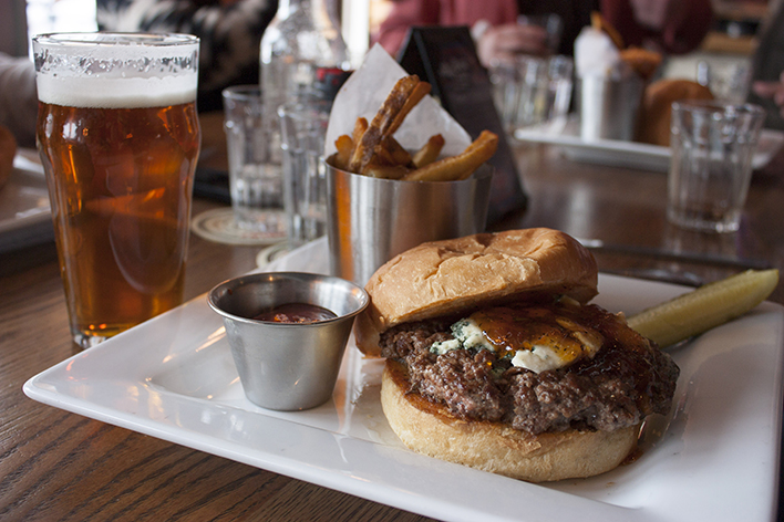 Red Cow Oskar Blues Burger // Photo by Brian Kaufenberg