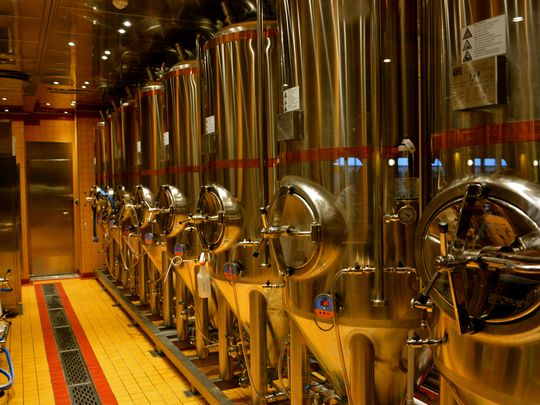 Red Frog Pub & Brewery's brewing tanks on board the Carnival Vista // Photo by Chris Owen for USA Today