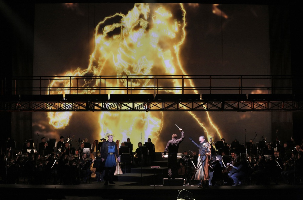 Alberich uses the Rheingold to transform into a dragon // Photo by Cory Weaver