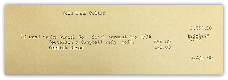Original receipt of purchase for Schell's Cyprus Tanks // Photo courtesy of Schell's Brewery