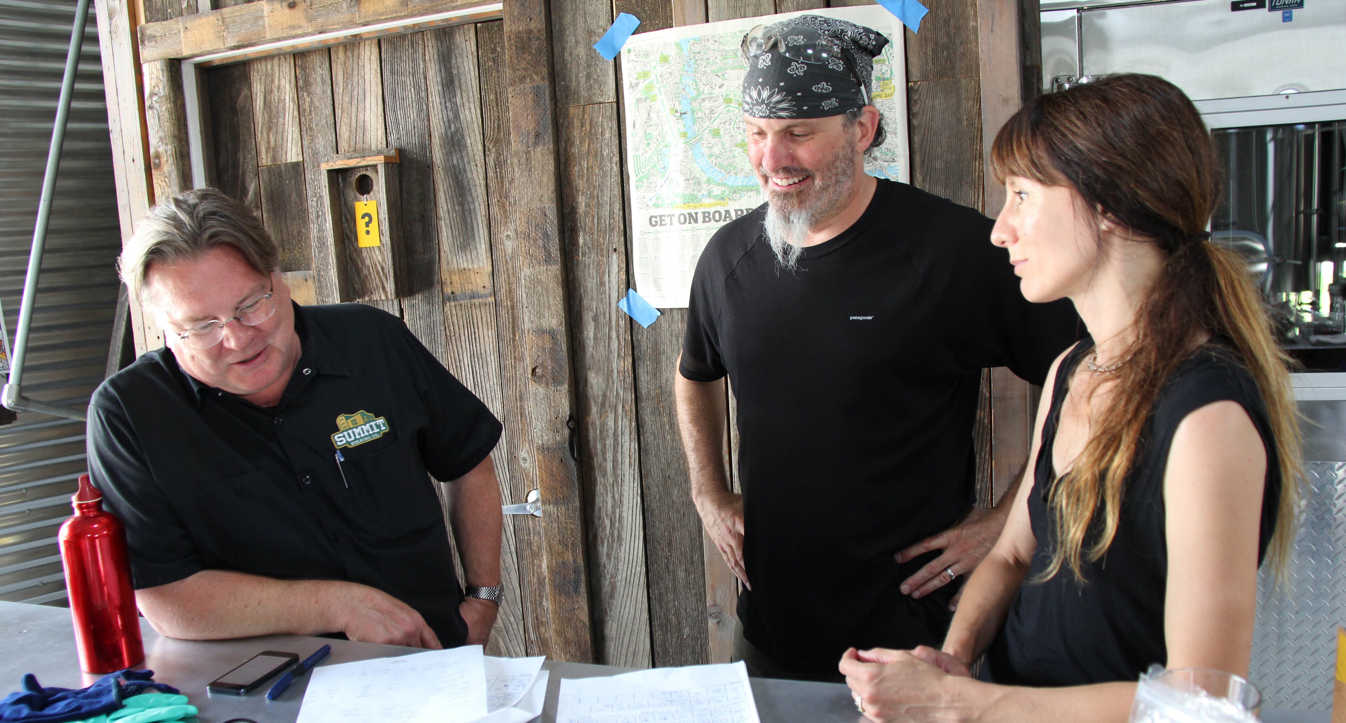 Summit Owner Mark Stutrud recipe planning with Jay and Sandy Boss Febbo, owners of Bang Brewing Co. // Photo by Chip Walton, Summit Brewing Co.