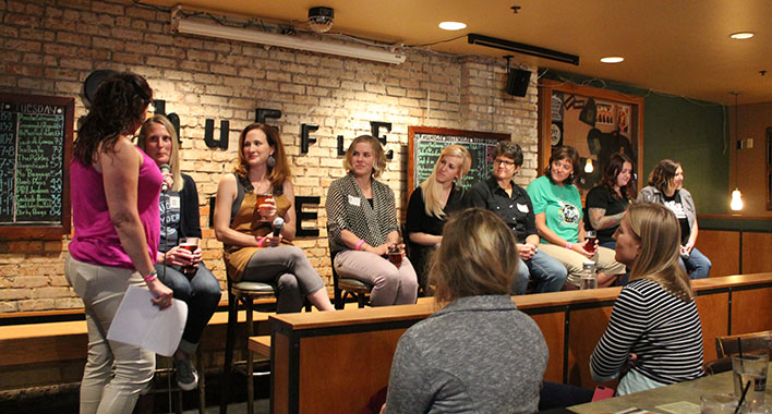 "The Minnesota chapter of the Pink Boots Society held a kickoff event in September 2015 that included a ""Women in Beer"" panel // Photo by Loren Green"