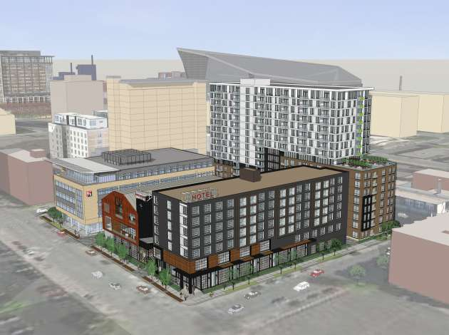 Kraus-Anderson's plan for its Elliot Park development, which will include a new Finnegans microbrewery // Courtesy ESG Architects via The Journal