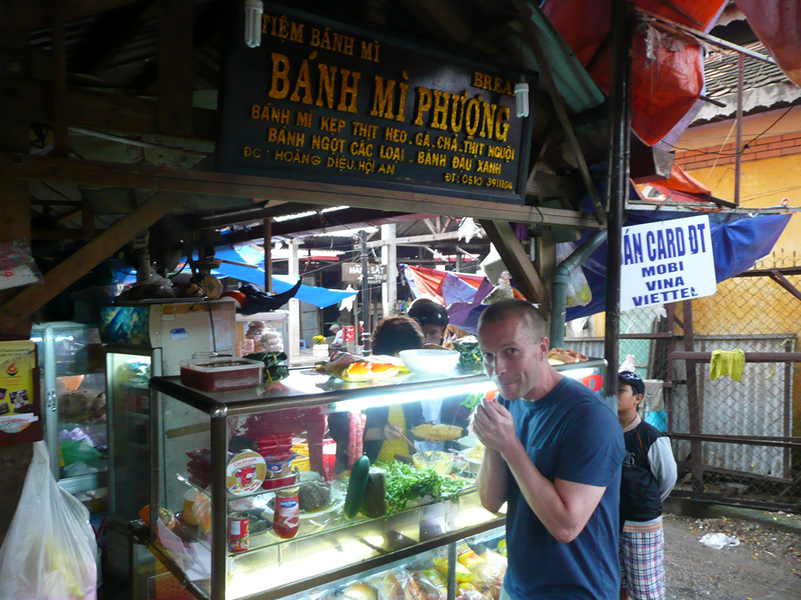 me waiting for the best banh mi in the world in Hoi An Vietnam