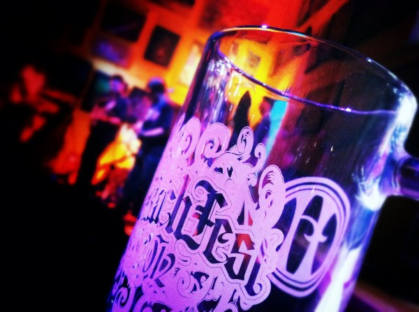 A mug awaiting a pour of HARRIET'S RAUCHFEST German-Style Smoked Lager