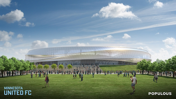 Renderings for the future home of Major League Soccer in Minnesota. Construction on the 20,000 seat stadium is expected to be complete in time for the start of the 2018 MLS season. Minnesota United will finance the estimated $150 million stadium. // Image courtesy MN United FC