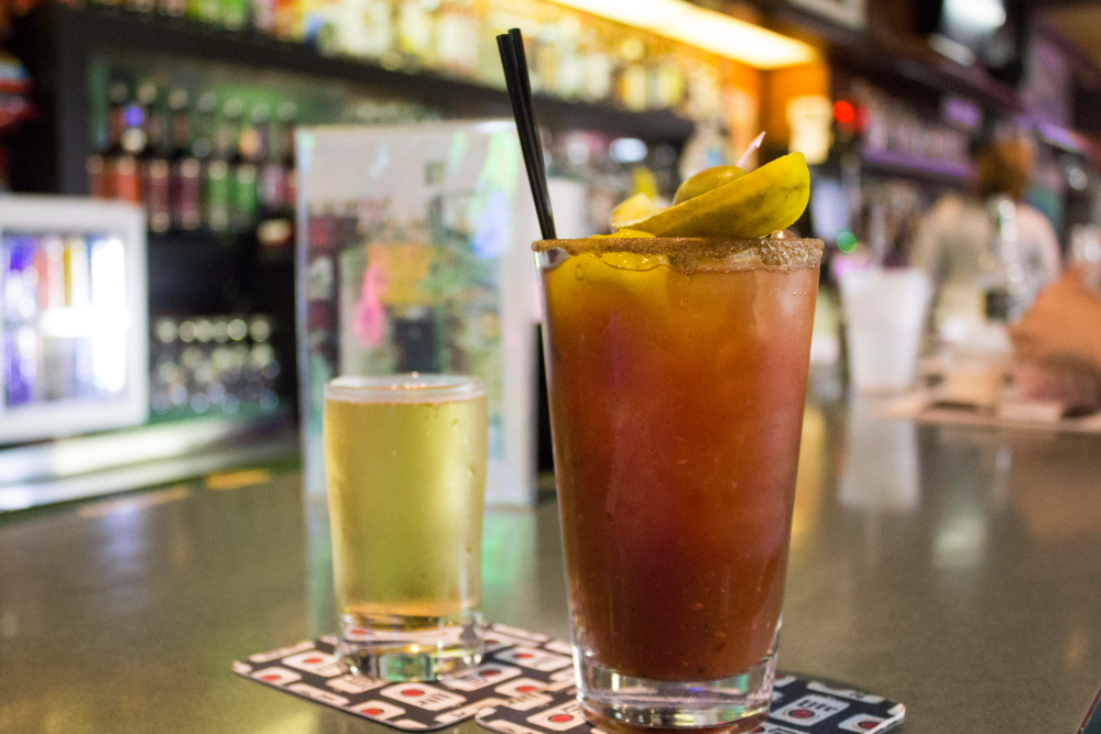 Bloody mary and snit of beer at Kelly's Depot Bar // Photo by Brian Kaufenberg