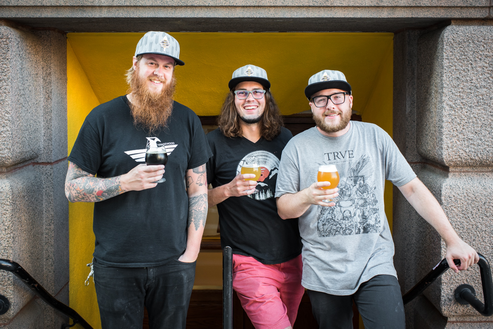 12welve Eyes Brewing owners Elliot Grosse (middle) and Dalton Buchta (right) and their assistant brewer Josh Oestreich (left) // Photo by Kevin Kramer, The Growler