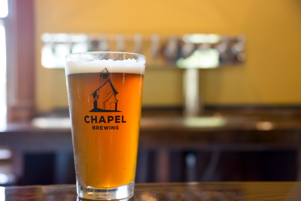 Beer on the bar at Chapel Brewing in Dundas, Minnesota // Photo by Louis Garcia