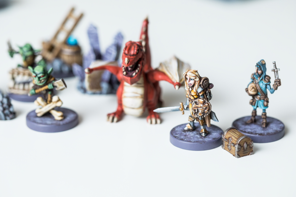 Miniature game pieces for Vast: The Crystal Caverns // Photo by Tj Turner