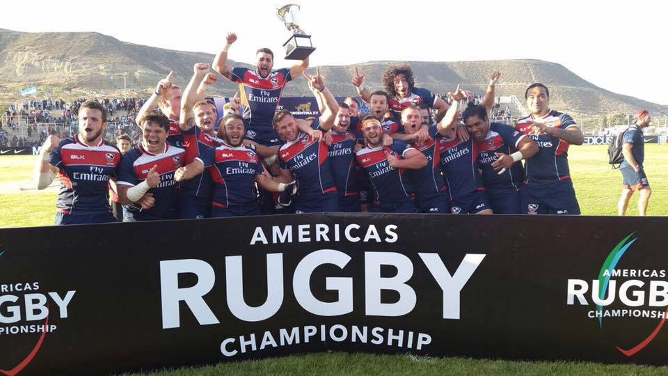 Nate Augspurger is carried off the field by his USA Rugby teammates after winning the 2017 Americas Rugby Championship // Photo via USA Rugby