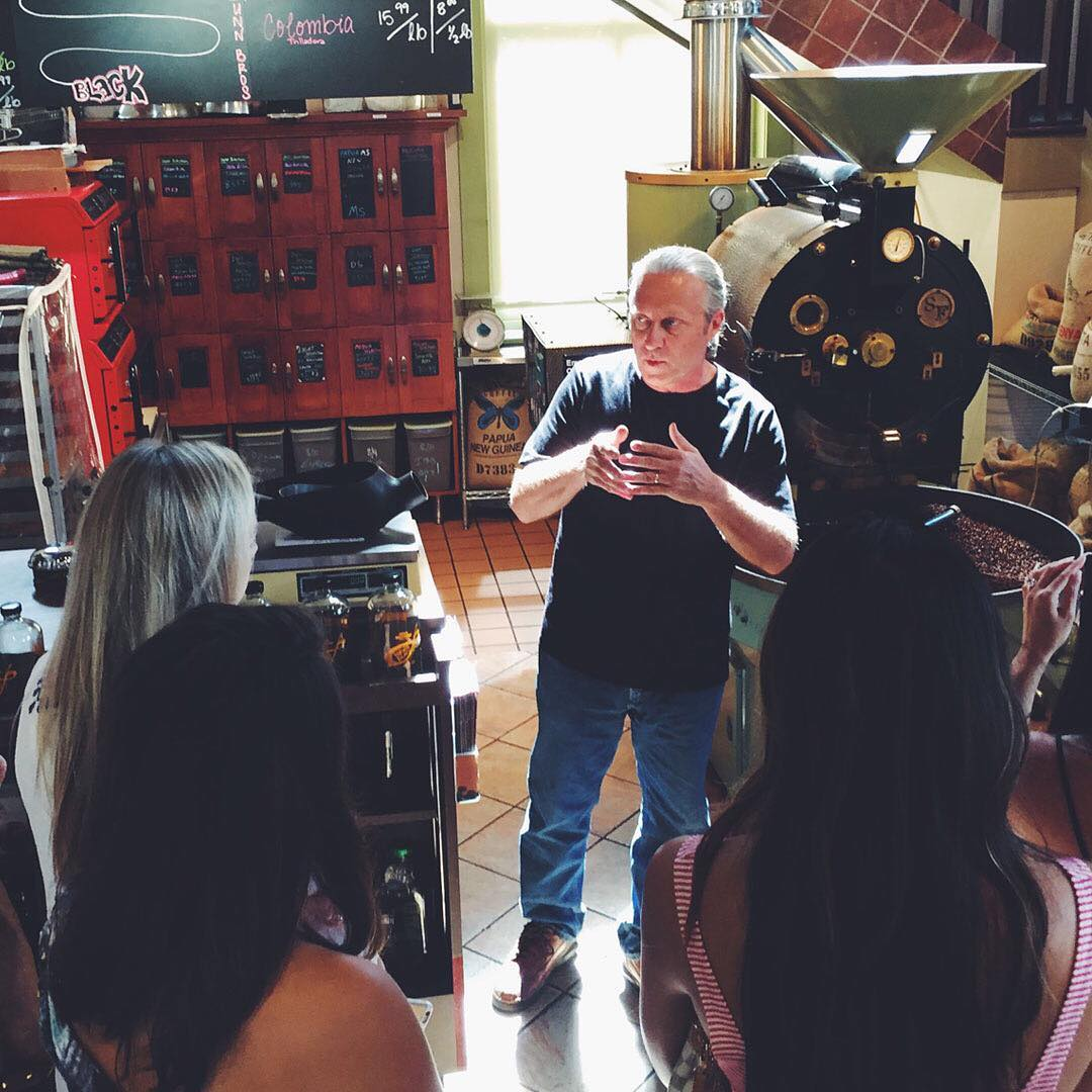 Dunn Brothers roast master Bob Vaseleski describes how roasting develops flavors in coffee beans // Photo courtesy of Dunn Brothers