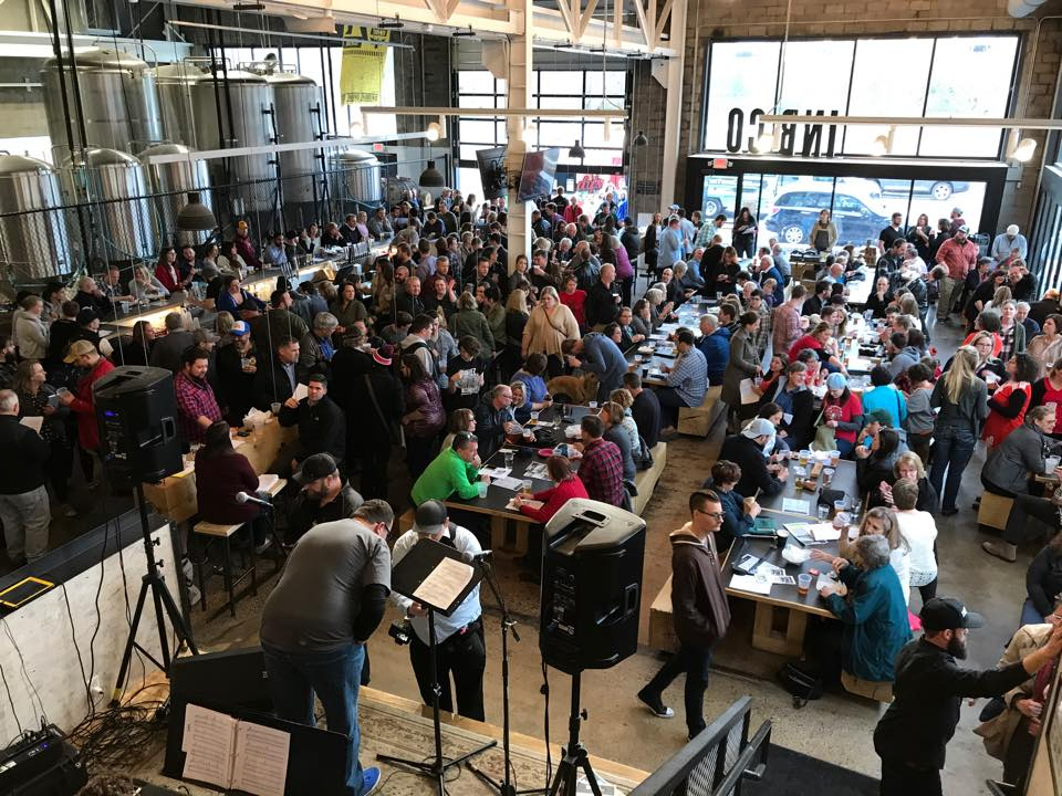 Beer Choir Twin Cities take over brewery taprooms like this event at Inbound BrewCo // Photo via Beer Choir Twin Cities' Facebook