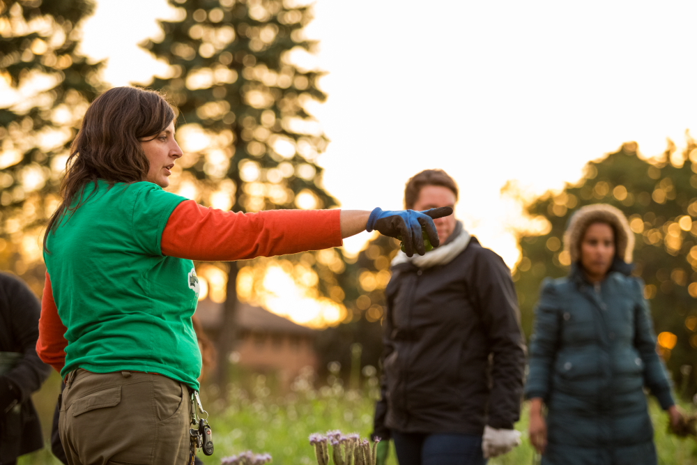 Stephanie Hankerson directs volunteers towards some of the work that needs to be done at Frogtown Farms // Photo by Amy Anderson