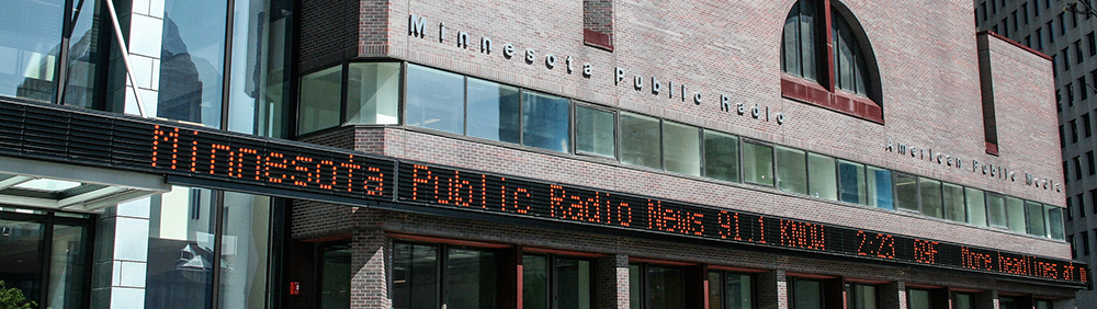 The MPR News News Ticker scrolls around the outside of MPR and APM's downtown St. Paul location // Photo by Tony Webster