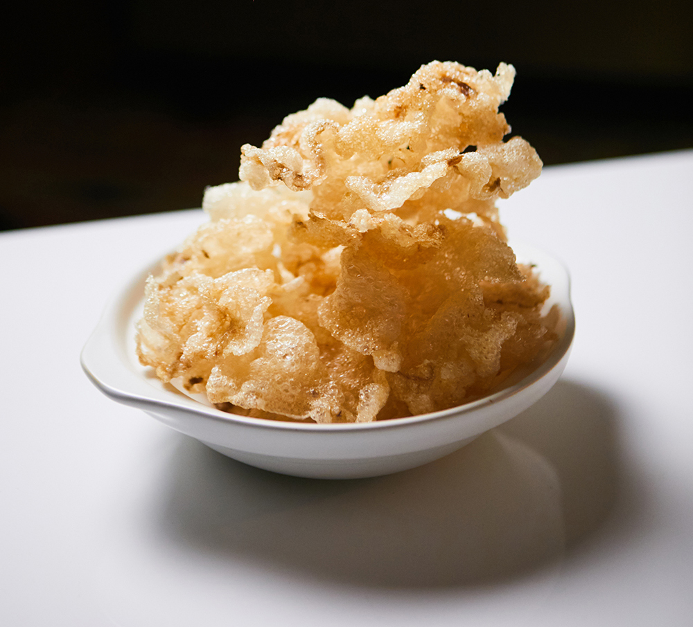 Crisp, rice crispy like deep-fried Beef tendon // Photo by Wing Ta