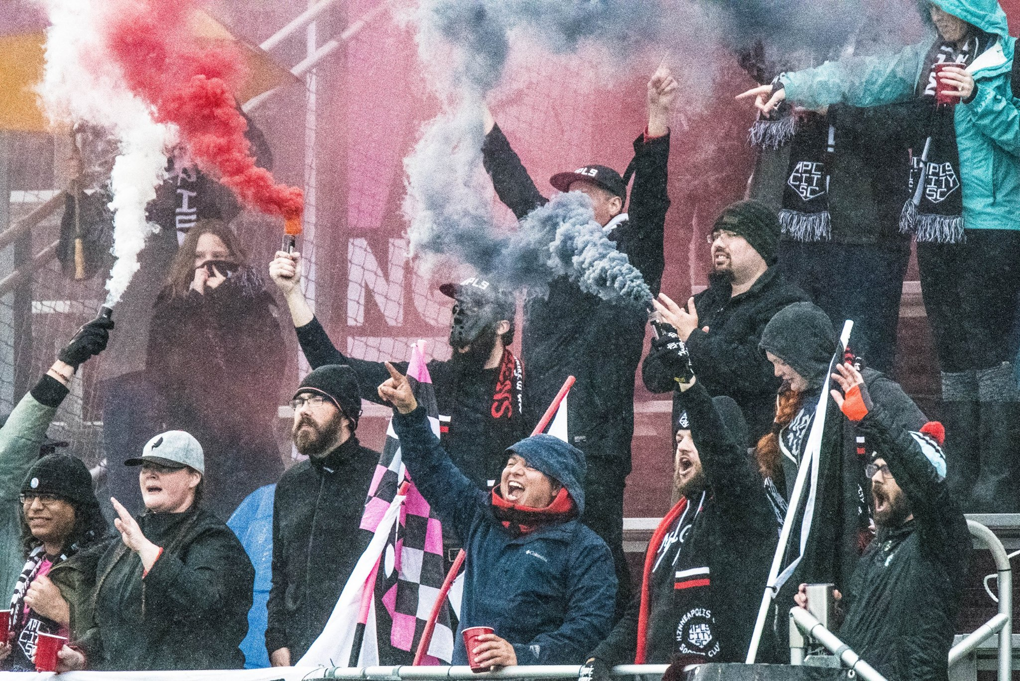 Minneapolis City Soccer Club fans celebrating on a cold evening // Photo courtesy MPLS City Soccer Club Facebook