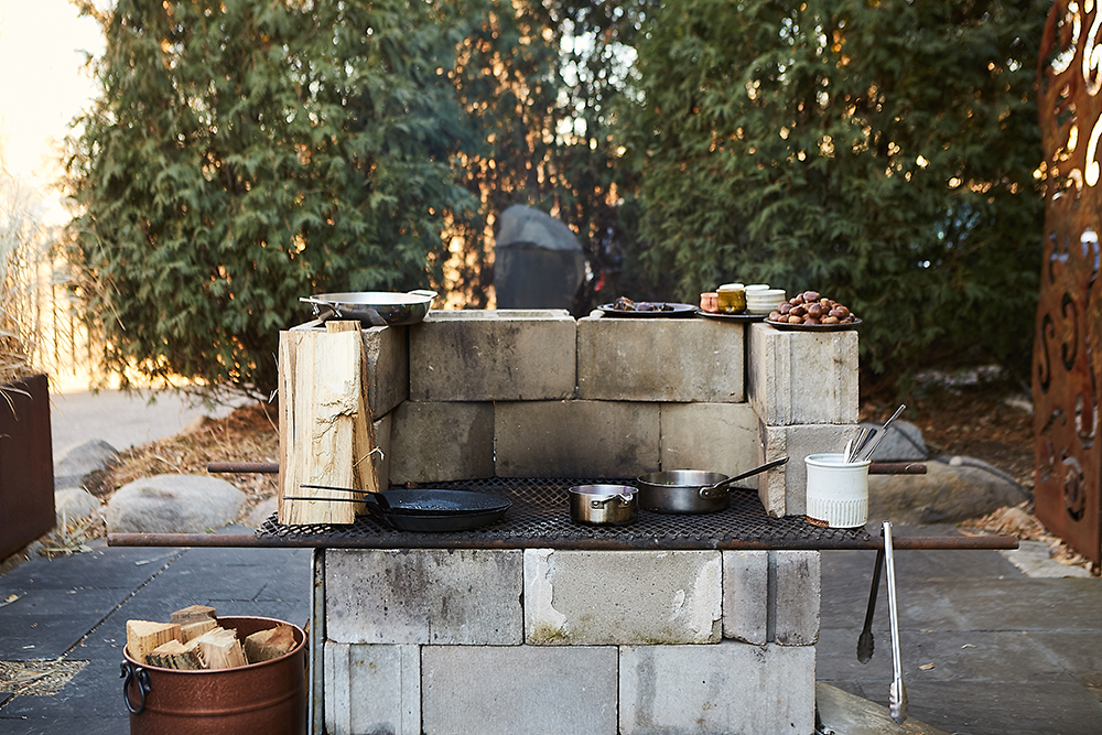 Thomas Boemer's makeshift woodfire stove serves as his test kitchen for the new Keg & Case restaurant // Photo by Wing Ta