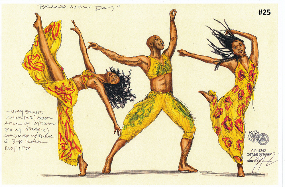 A costume concept drawing for the Brand New Day scene dancers // Illustration courtesy Children's Theater Company