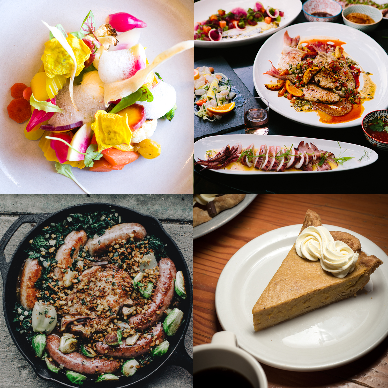 Clockwise from top left: Vegetables at Heirloom // Photo by Dan Murphy; Seafood feast made by Billy Tserenbat and Zach Schugel // Photo by Wing Ta; Pumpkin pie at Birchwood Cafe // Photo by Kevin Kramer; Gavin Kaysen's cassoulet // Photo by Matt Lien