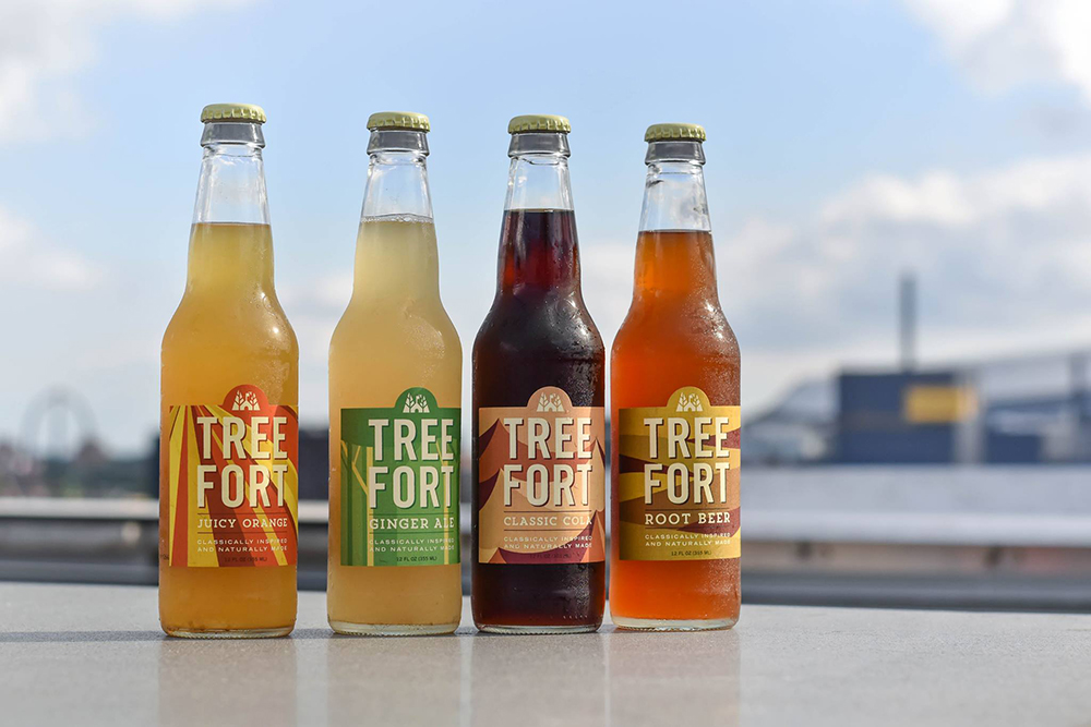 Tree Fort Soda's product line up, including their Root Beer on the right // Photo via Tree Fort Soda Facebook