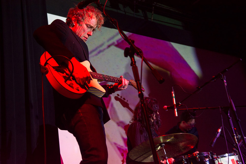 Alan Sparhawk plays the guitar during the Drone not Dronez concert // Photo by Steve Cohen
