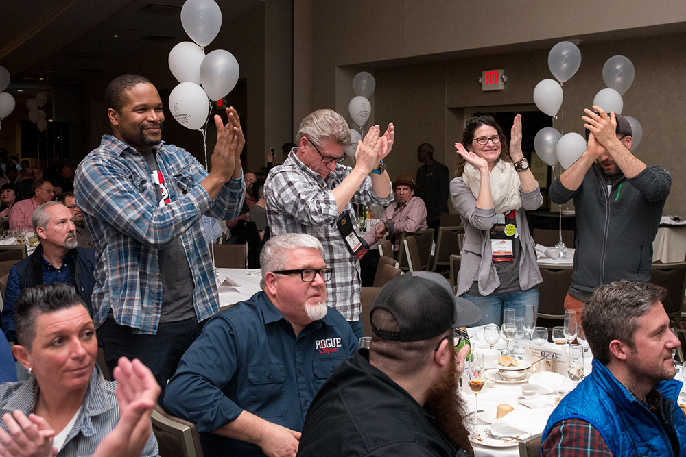 Chris Montana of Du Nord Craft Spirits (standing left) was one of the representatives from Minnesota at the American Craft Spirits Association's 2018 award gala // Photo courtesy the American Craft Spirits Association
