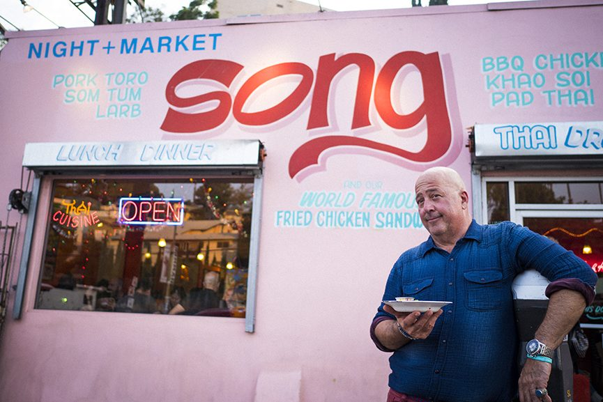 Andrew Zimmern outside of Night Market + Song, a Thai food restaurant in Los Angeles, California, which was featured on hos new show, Zimmern Live // Photo via Andrew Zimmern Twitter