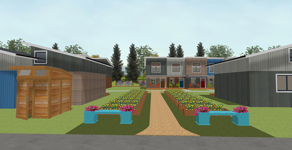An architectural rendering of the proposed East Yard Tiny Home Village // Photo courtesy East Yard Tiny Home Village
