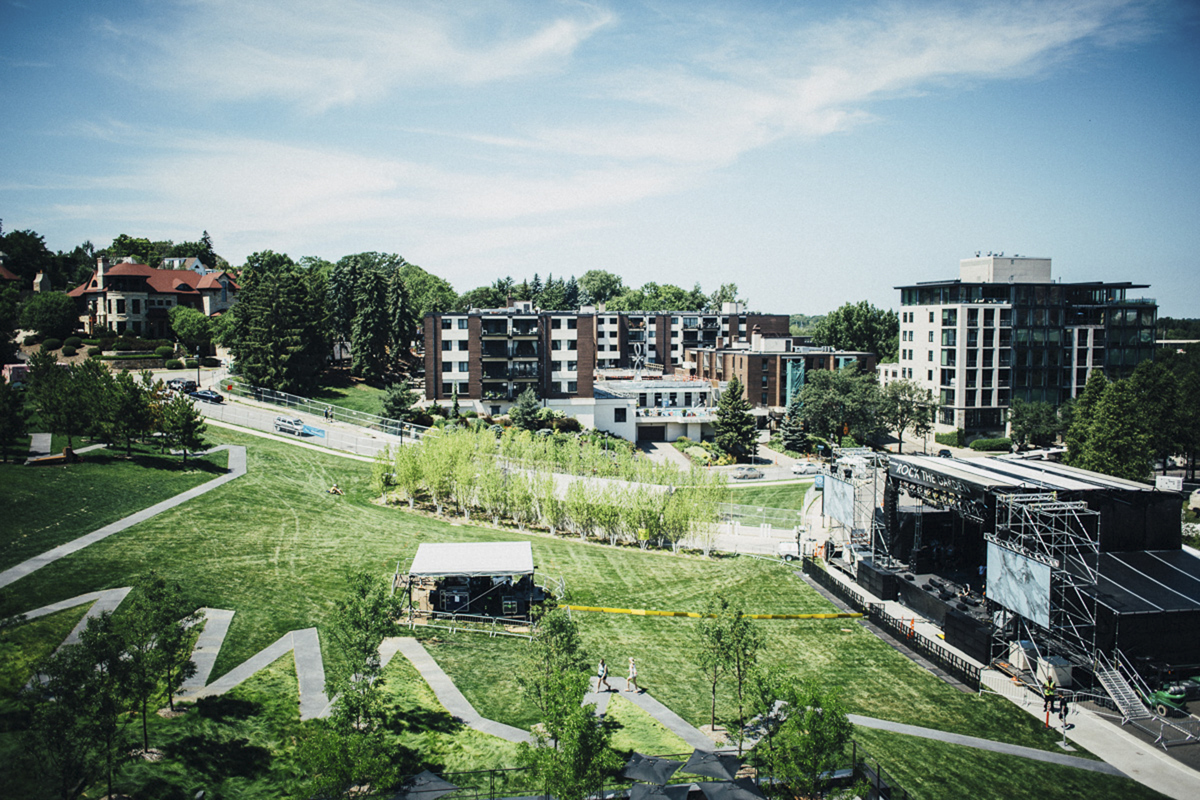 Keeping the Walker Art Center's garden green is one of the goals of Eureka Recycling // Photo by Emmet Kowler, MPR