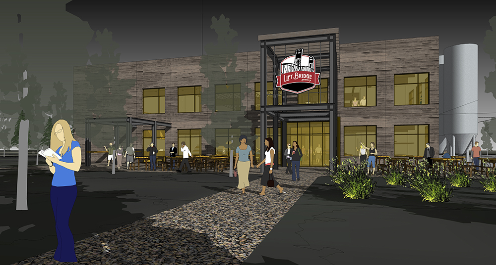 Exterior rendering of the new Lift Bridge brewery, set to open in May of 2019 // Courtesy of HGA Architects and Engineers